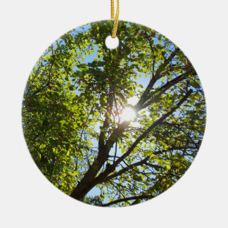 Sunshine Through Green Leaf Tree Double-Sided Ceramic Round Christmas Ornament