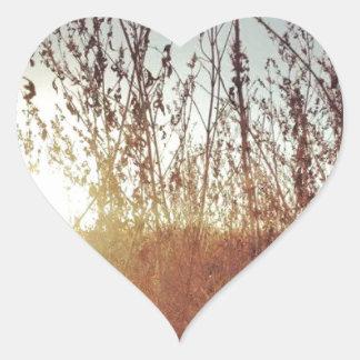 Sunshine Through the Prairie Grasses Heart Sticker