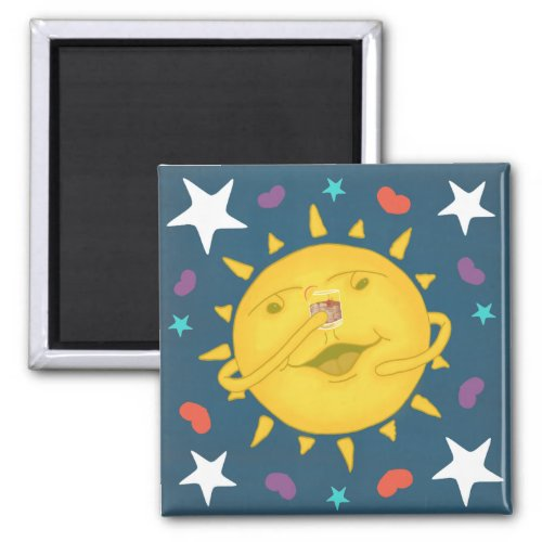 Sunshine & Whiskey Folk Art Cartoon Cheers Square Magnet