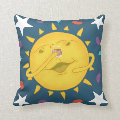 Sunshine & Whiskey Folk Art Cartoon Cheers Throw Pillow