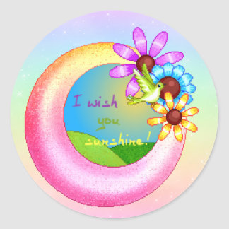 Sunshine Wish Pixel Art Classic Round Sticker