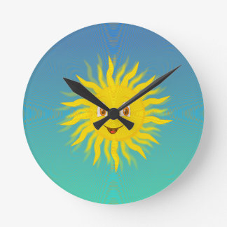 Sunshine With Circular Lines Round Clock