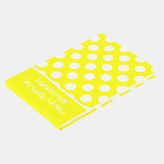 Sunshine Yellow and White Polka Dot Personalized Guest Book