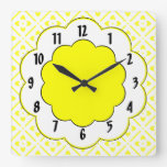 Sunshine Yellow Black Trim Flower Pattern Square Wall Clock