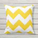 "Sunshine Yellow Chevron Zigzag Outdoor Pillows<br><div class=""desc"">Sunshine Yellow zigzag chevron geometric big pattern outdoor pillow. Made in the USA. UV and mildew resistant garden or patio pillows in with modern designs in bright summer colors. Available in 16 or 20 inch square and 13 by 21 rectangular sizes. Insert included. (Also available as an interior couch or...</div>"
