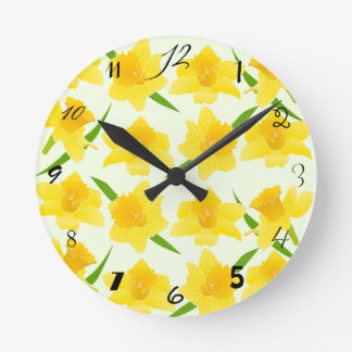 Sunshine Yellow Daffodil Flowers Pattern Round Clock