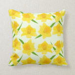 Sunshine Yellow Daffodil Flowers Pattern Throw Pillow