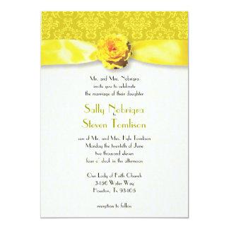Sunshine Yellow Damask Wedding 5x7 Paper Invitation Card