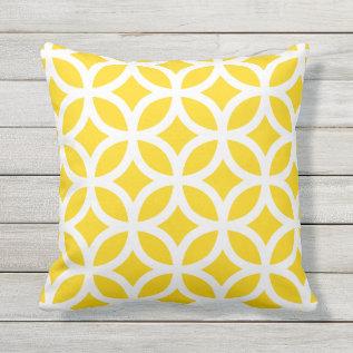 Sunshine Yellow Geometric Pattern Outdoor Pillows at Zazzle