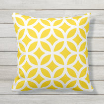Sunshine Yellow Geometric Pattern Outdoor Pillows