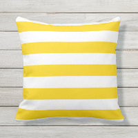 Sunshine Yellow Nautical Stripes Outdoor Pillows