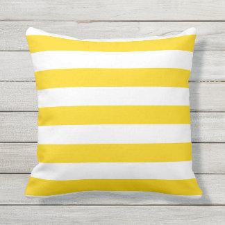 Awesome Sunshine Yellow Nautical Stripes Outdoor Pillows