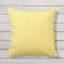 Sunshine Yellow Outdoor Pillows - Oxford Stripe