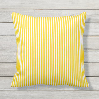 Wonderful Sunshine Yellow Outdoor Pillows   Oxford Stripe