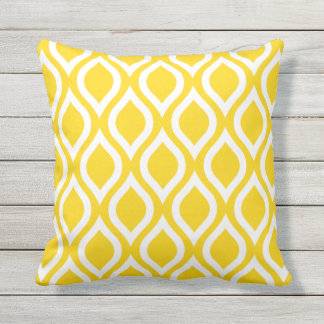 Sunshine Yellow Outdoor Pillows - Tile Pattern
