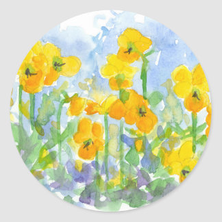 Sunshine Yellow Pansy Flowers Watercolor Painting Classic Round Sticker