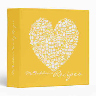 Sunshine Yellow Recipe Personalized Name Binder