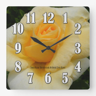 Sunshine Yellow Rose Large Numbers Wall Clock