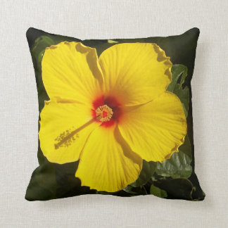 Sunshine Yellow Tropical Hibiscus Flower Throw Pillow