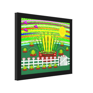 Suntime Farm Stretched Wrapped Canvas Print 14x11