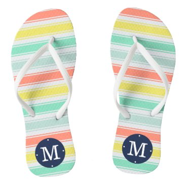 Beach Themed Sunwashed Neon Summer Cabana Stripe Monogram Flip Flops