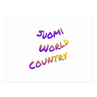 Suomi world country, colorful text art postcard