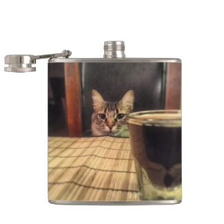 Sup Beer? Funny Humor Kitty Cat Photo Photography Hip Flask