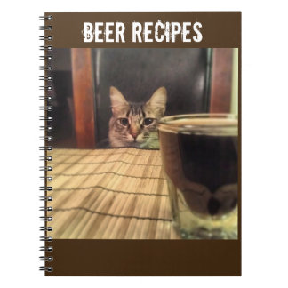 Sup Beer? Funny Humor Kitty Cat Photo Photography Spiral Notebook