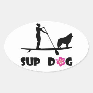 SUP Dog Oval Sticker