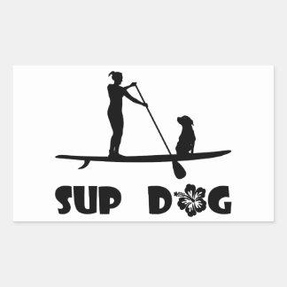 SUP Dog Sitting Rectangular Sticker