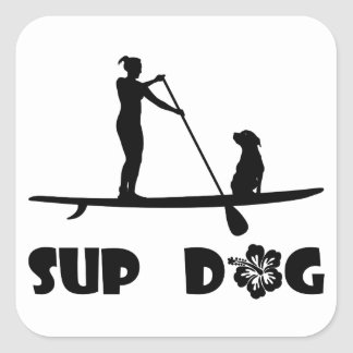 SUP Dog Sitting Square Sticker