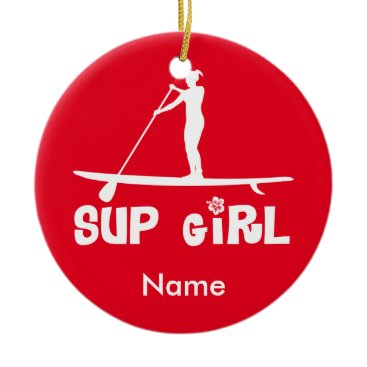 Christmas Themed SUP Girl Ceramic Ornament
