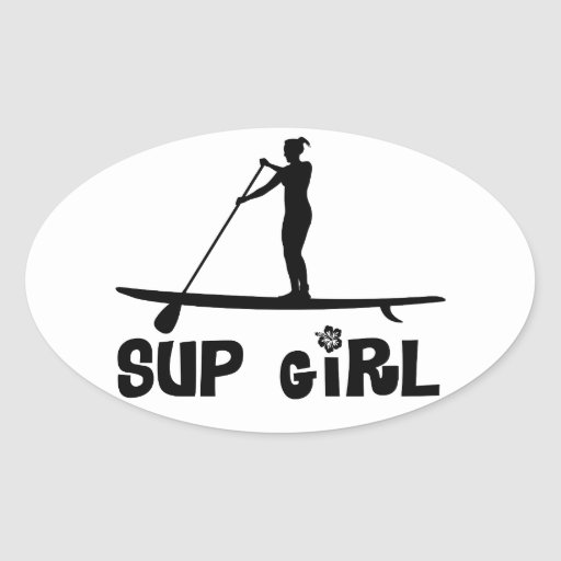 sup girl oval sticker