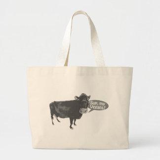 'sup my vegans large tote bag