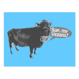 'sup my vegans postcard