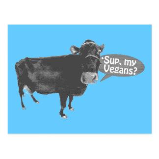 'sup my vegans postcard