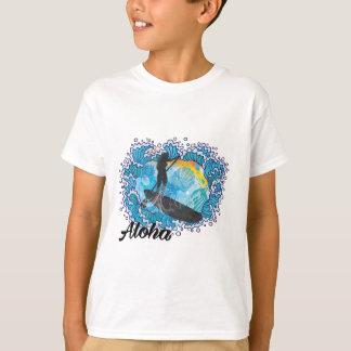 Sup paddle Boarder Beautiful Ocean Blue Hawaiian T-Shirt
