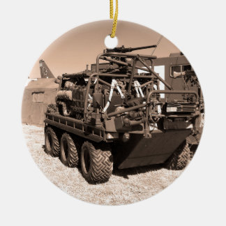 Supacat. The  all terrain six wheeled army vehicle Double-Sided Ceramic Round Christmas Ornament