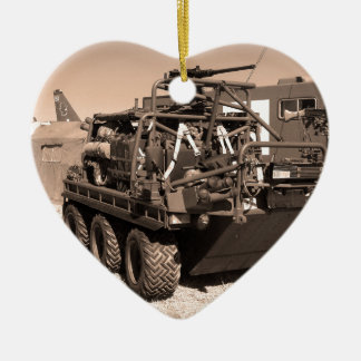 Supacat. The  all terrain six wheeled army vehicle Double-Sided Heart Ceramic Christmas Ornament
