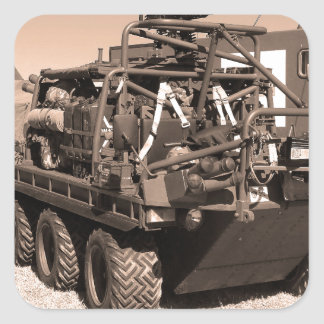 Supacat. The  all terrain six wheeled army vehicle Square Sticker
