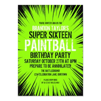 super 16 paintball party invitations - Paintball Party Invitations