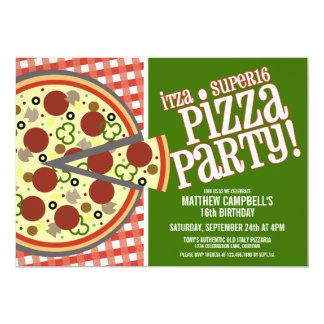 Super 16 Pizza Party Invitations