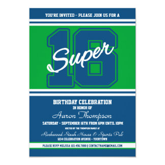 Super 16 Sports Blue Green Party Invitation