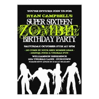 Super 16 Zombie Party Invitations