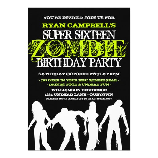 personalized zombie party invitations | custominvitations4u, Party invitations