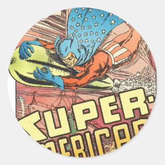 SUPER AMERICAN 1940's PULP COMICS HERO Round Sticker