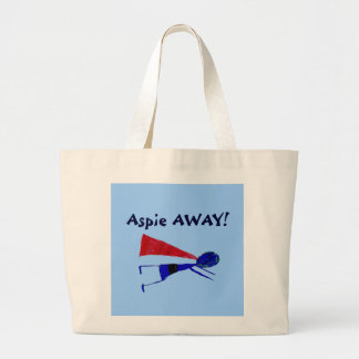 """Super  Aspie AWAY!   """"Autism Awareness"""" Large Tote Bag"""