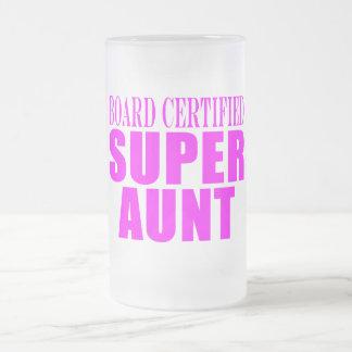 Super Aunts : Pink Board Certified Super Aunt Frosted Glass Beer Mug