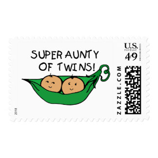 Super Aunty of Twins Pod Postage Stamps