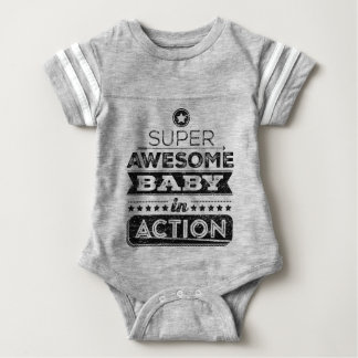 Super Awesome Baby In Action (Hipster Style) Baby Bodysuit